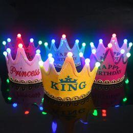 2019 miroir de capot Rose Couronne Light-Up Lumineux LED Clignotant Clignotant Roi Pringcess CrowN Cap Bandeaux Fête D'anniversaire Chapeau Livraison Gratuite