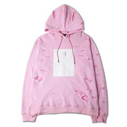 sudadera con capucha de yeezus Rebajas Yeezus Kanye Estilo Hombre de color rosa con capucha Agujero rasgado Con capucha suelta Streetwear Moda Pareja Ropa Casual Unisex Jersey