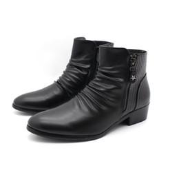 Wholesale italian ankle boot - Fashion Luxury Brand Mens Leather Boots Genuine Zipper Black Crocodile Leather Joint Italian Designer Dress Ankle botas