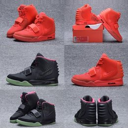 Wholesale Mens Outdoor Bags - (With Box ) Kanye West 2 SP Red October Baskeball Shoes With Original Packages Dust Bag Mens Sneakers Kanye West 2 Boost Glow Dark Outdoor