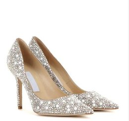 Wholesale Crystal Pointed Back Rhinestones - Custom Made Bling Rhinestone Crystal Embellished Pointed Toe Stiletto High Heels Suede Leather Women Bride Wedding Shoes Pumps