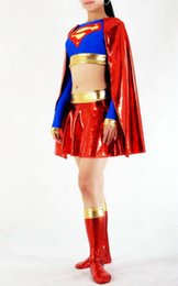 Wholesale Superman Lycra Catsuit - Women Halloween Superhero Costumes Blue And Red Women Lycra Superman Shiny Metallic Zentai Dress