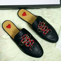 Wholesale Soft Sole Slippers - Lady Brand Flats Shoes Summer Slippers Cow Leather Non-slipping Sole High Quality Original Package Animal embroidery(Dust Bag,Box)