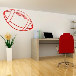 Wholesale Nature Series - Vinyl Sport Series Rugby Ball Art Mural Home Decoration Wall Sticker Room Removable Wall Decals 32*57 cm