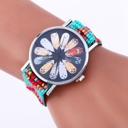 Wholesale Gilrs Watches - New cartoon feather design women watch fashion bead weave bracelets watches ladies gilrs bead rope dress quartz casual watches wholesale