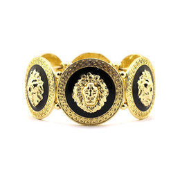 Wholesale Lion Medallion - Free Shipping Rihanna Inspired Trendy Gold Black Lion Head Medallion Chunky Stretch Bangle Bracelet
