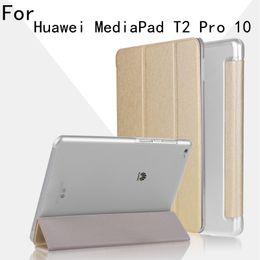 планшет с фолио Скидка Wholesale- Ultra Thin Slim Folio Flip Stand For Huawei MediaPad T2 10.0 Pro Tablet FDR-A01W FDR-A03L 10.1 inch Tablet Case