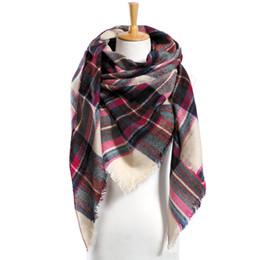 Wholesale Top Tartan Scarf - Top quality Winter Scarf Plaid Scarf Designer Unisex Acrylic Basic Shawls Women's Scarves hot sale