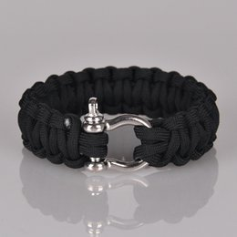 Wholesale Military Climbing Rope - 5Colors Survival Cord Rope Paracord O D Steel Buckle Retro Bracelet Military Bangles Men Sport Outdoor Bracelets Camping Climbing Aids Tool