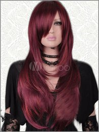 Wholesale Long Dark Red Hair - Long Straight Hair Wigs New Dark Red Mix Women's Wig free shipping