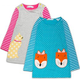 Wholesale Kids Blouse Embroidery - Embroidery Fox Dog Baby Girls Dress 100% Cotton Children Dresses Girl Blouses Kids Tops Jumpers Long Sleeve Sweatshirts 80-120