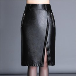 Wholesale Zipper Pencil Skirt - High Quality PU Leather Pencil Skirts High Waist Zipper 2017 Autumn Black Faux Synthetic Leather Bodycon Office Skirt
