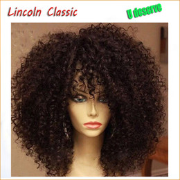 Wholesale Virgin Hot Full - Hot Sale Beautiful Natural Afro Kinky Curly Wig Brazilian Virgin Human Hair Kinky Curly Lace Front Wigs Glueless For Black Women
