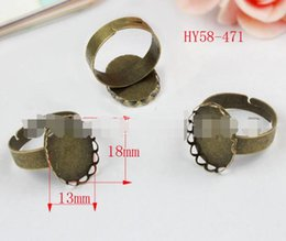 Wholesale Diy Ring Gems - 200pcs lot Hot sale 58-471 antique bronze adjustable ring ancient bronze ring 13X18MM gem base ring drop shipping diy jewelry accessories
