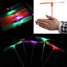 Wholesale Cheap Led Toys - Wholesale- 20pcs lot NEW LED Luminous flying light up toys flashing Bamboo Dragonfly Electronic Cheap kids gift party decoration
