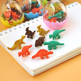Wholesale Novelty Pencils Erasers - Wholesale- 12Pc   Pack Hot Sale Students Animal Erasers For Kid Stationary Gift Novelty Dinosaur Egg Pencil Rubber Eraser