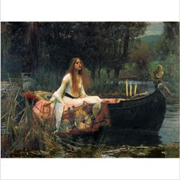 Wholesale Lady Abstract Oil Painting - Framed John William Waterhouse The Lady of Shalott Handpainted Classic Portrait Art Oil Painting,on High Quality Canvas Wall Art Multi sizes