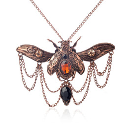 Wholesale Beetle Pendant - Vintage Steam Punk Jewelry Big Beetle Pendant Necklace Women Statement Accessories Retro Bronze Ancient Silver Crystal Jewelry Free Shipping