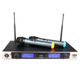 Wholesale Uhf Receiver - U8630 Karaoke UHF Wireless Microphone System Microfono Inalambrico Professional Dual Channel Cordless Receiver 2 x Handheld Mic Vocal Mike