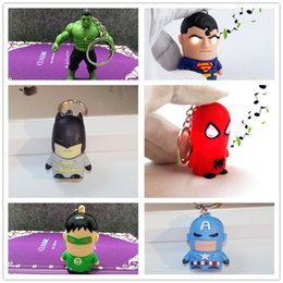 Wholesale Newest 3d Movies - Movie The Avengers Alliance Keyrings Superhero Newest 3D Plastic America LED Flashlight Keychain Sound Keyring Ligh