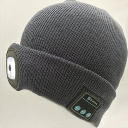 Wholesale Plain Camp Hat - 2 Colors Winter LED Beanies Rechargeable Music Hat Sports Beanie Knitted Cap Camping Fishing Hat Unisex Bluetooth Beanies CCA7718 50pcs