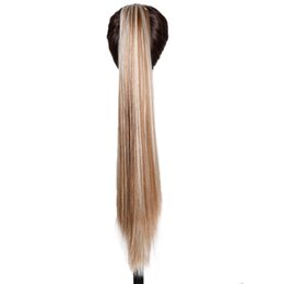 Wholesale Blonde Claw Hair Extensions - 2017 Long Straight Clip In Hair Extensions Piece Blonde Gray Little Pony Tail Heat Resistant Synthetic Hair Claw Ponytails