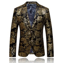 Wholesale Embroidered Wedding Jackets - Wholesale- Gold Blazer For Men Stage Costumes For Singers Mens Embroidered Blazer Luxury Brand Mens Blazer Jacket Prom Wedding Dress Q51