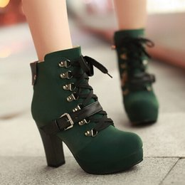 Wholesale Shoes For Bigger Women - Wholesale- 2015 New Fashion Vintage Buckle Platform Martin Booties Lace Up Chunky Heel Ankle Boots For Women High Heels Shoes Bigger Size43