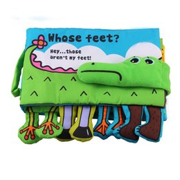 Wholesale Children Cloth Books - Wholesale- Baby Cloth Book Children Educational Toys Soft Fabric Feet Crocodile English Teaching Stereo Quiet Book Baby Toy -- BYC081 PT49