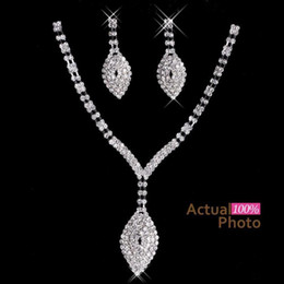 Wholesale Evening Earrings Crystal - 2017 New Rhinestone Crystals Jewelry Set Cheap Fashion Wedding Evening Prom Formal Accessories Hot Sale Free Shipping Necklace