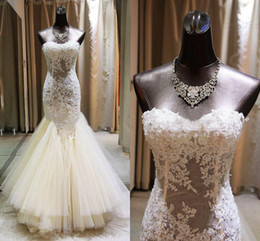Wholesale Layered Mermaid Gown - Gorgeous 2017 Mermaid Lace Wedding Dresses Sweetheart Illusion Appliques Beaded Layered Skirt Floor Length Bridal Gowns with Lace-up BA1926