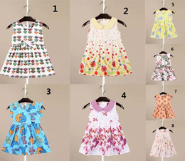 Wholesale Doll Boat - In stock 8 styles high quality cotton dress hot sell Europe and America new arrivals Girls Lovely cartoon animal printed lapel doll dress