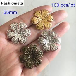Metal bead caps en Ligne-100 pcs grande taille des bouchons de fleurs en métal, couleur or 25 mm, couleur argent, acier, couleur bronze, métal estampage fleurs, résultats de bijoux