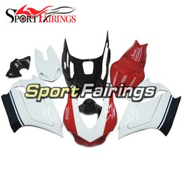 Wholesale Motorcycle Race Bodywork - Red White Fiberglass Racing Fairings For DUCATI 899 1199 2012 2013 Injection ABS Plastics Motorcycle Full Fairing Kit Bodywork