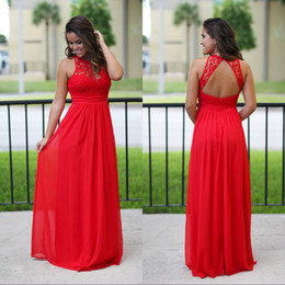 Wholesale Chiffon Maxi Bridesmaid Dress - Sexy Long Chiffon Country Bridesmaid Dresses Red Lace Bridesmaids Dress Cheap Beach Sexy Backless Maxi Dress Prom Gowns