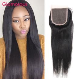 Wholesale Healthy Natural Hair - Glamorous Brazilian Straight Human Hair Closure 1Piece Natural Black Healthy Malaysian Peruvian Indian Remy Hair Pieces Virgin Hair Closures