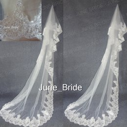 Wholesale Sequin Cord - Luxury Silver Cord Sequined Lace Appliqued Bridal Veil High Quality Long Off White Wedding Veils Free Shipping Bridal Accessory Real Photo