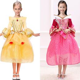 Concurso de belleza vestidos niños online-Los niños Cosplay princesa vestidos Aurora Belle Sophia Aurora gasa TuTu Party desfile vestido largo vestido plisado Sleeping Beauty HH7-195