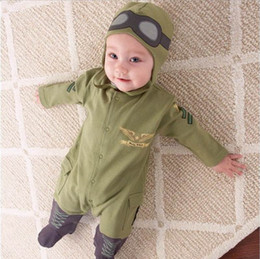 Wholesale Baby Clothes Military - Baby Boy Clothing Pilot Long Sleeve Romper Hat Two Piece Clothing Set Military Green Baby Boy Clothes HY2034G