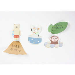 Wholesale Animal Sticker Books - 36 pcs Lot Lovely animal sticky post Cat bear penguin memo pads sticker for diary book scrapbooking Office School supplies