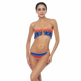 Wholesale New Hot Bikini Thong - Hot Women Bikini Strapless Print Front Hollow Wire Free Swimming Suit For Female New Vintage Retro Bikinis Set Thong Bndage Top Fashion