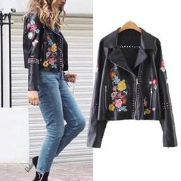 Wholesale Outwear Jacket Woman Leather - 2018 Punk Street Rivets Beading Flower Embriodery Women Jackets Coat Autumn Pu Leather Jackets Women Outwear Casaco