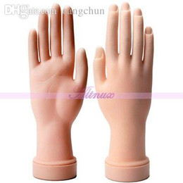 Wholesale Hands Practice Nails - Wholesale-Soft Plastic Stand Hand Model Nail Art Salon Practice Display Tools False Nail
