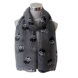 Wholesale bali yarn - Wholesale- winter women scarf Bali yarn panda girl neckerchief Panda Print Shawl Voile Rectangle female Voile fashion Scarves 190*80cm GY