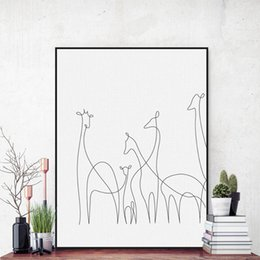 Wholesale Picture Sketches - Free shipping novelty gift simple sketch giraffe pattern home cafe hotel restaurant decorative hanging poster photo picture