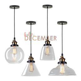 Wholesale Edison Style Ceiling Lights - 4 Style Vintage Industrial LED Pendant Lights Edison Crystal Glass LED Ceiling Pendant Lamps AC 110-240V