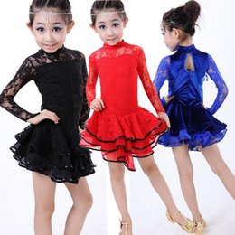 Wholesale Long Ballroom Skirts - Girls Ballroom Latin Tassel Dance Skirt For Children Girls Black Red Long sleeve High Quality Latin Competition Dancing Stage Wear Costumes