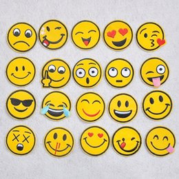 Wholesale Embroidered Iron Applique - 20pcs set DIY Sewing Iron On Emoji Patches Embroidered Applique For Cloth Badge Motif 4.9*4.9cm