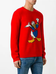 Wholesale Red Cashmere Fabric - Early autumn Donald Duck jacquard sweater men and women unified style wool blended fabric luxury brand new style 2017