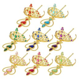 Wholesale Princess Party Tiaras - gold rhinestone Princess Cosplay Accessories Children Diamond Crown Tiaras + Magic Wands Kids Christmas Party Gift